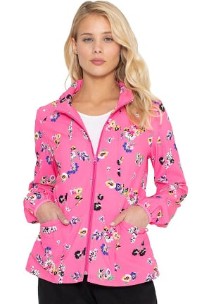 heartsoul Women's Warm Up Flowering Fields Print Scrub Jacket