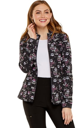 heartsoul Women's Zip Front Warm-Up Owl Print Scrub Jacket