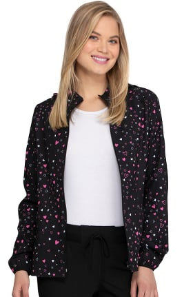 Break On Through by heartsoul Women's Heart Of Hearts Print Scrub Jacket