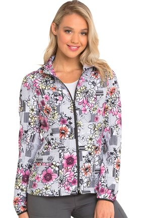 Clearance Break On Through by heartsoul Women's Zip Front Floral Print Scrub Jacket