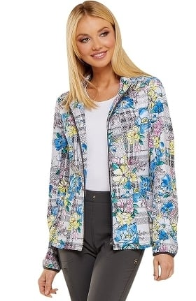 heartsoul Women's Zip Front Warm-Up Plaid Print Scrub Jacket
