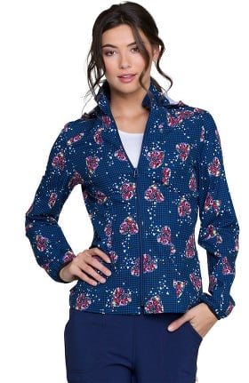 heartsoul Women's Warm-Up Floral Print Scrub Jacket