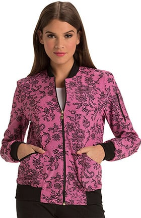 heartsoul Women's Zip Front Lace Print Bomber Scrub Jacket