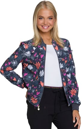 Clearance Break On Through by heartsoul Women's Zip Front Floral Print Bomber Scrub Jacket