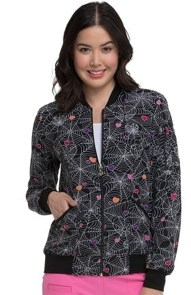 heartsoul Women's Halloween Heart Print Bomber Scrub Jacket