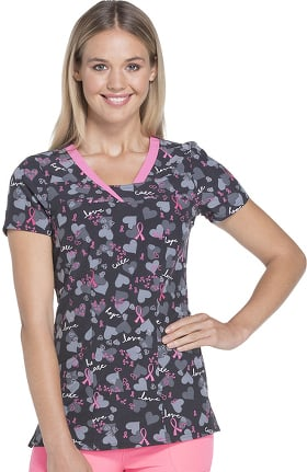 heartsoul Women's V-Neck Breast Cancer Awareness Print Scrub Top