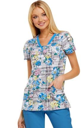 Clearance heartsoul Women's V-Neck Plaid Print Scrub Top