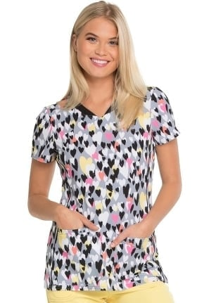 Clearance Break On Through by heartsoul Women's V-Neck Heart Print Scrub Top