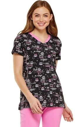 Clearance heartsoul Women's V-Neck Owl Print Scrub Top
