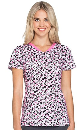 heartsoul Women's V-Neck Floral Print Scrub Top