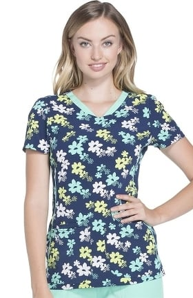 heartsoul Women's V-Neck Floral Print Scrub Top