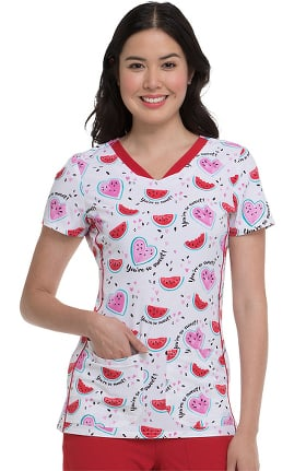 heartsoul Women's V-Neck Watermelon Print Scrub Top