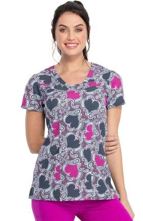 heartsoul Women's V-Neck Loving Paisley Print Scrub Top