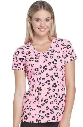 heartsoul Women's V-Neck Animal Print Scrub Top