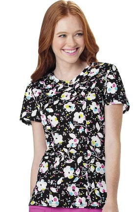 heartsoul Women's Mock Wrap Floral Print Scrub Top