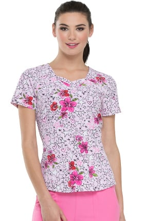 Clearance heartsoul Women's Sweetheart Neck Star Print Scrub Top