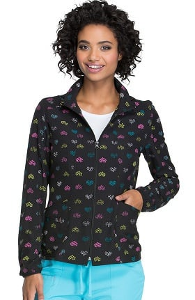 heartsoul Women's Zip Front Heart Print Warm-Up Scrub Jacket