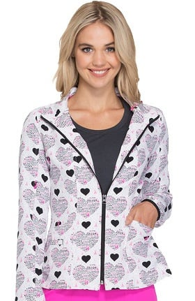 heartsoul Women's Zip Up Pink Ribbon Heart Print Scrub Jacket