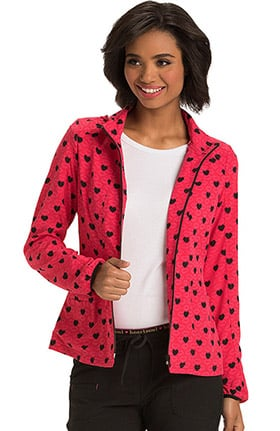 heartsoul Women's Zip Up Heart Print Scrub Jacket