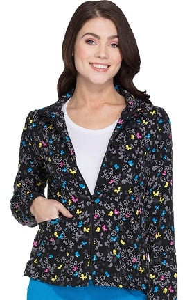heartsoul Women's Zip Up Butterfly Print Scrub Jacket