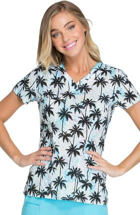 Clearance heartsoul Women's Sweetheart V-Neck Tropical Print Scrub Top
