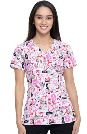 Break On Through by heartsoul Women's V-Neck Believe In Love Print Scrub Top