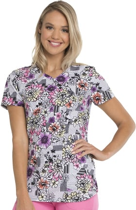 Clearance Break On Through by heartsoul Women's Mock Wrap Floral Print Scrub Top