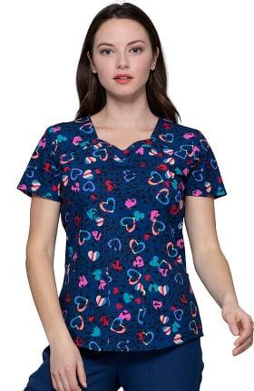 heartsoul Women's Sweetheart Neck In Love With Leopard Print Scrub Top