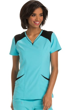 Break On Through by heartsoul Women's Heart Zips a Beat V-Neck Solid Scrub Top