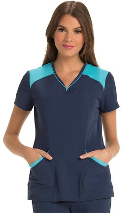 Clearance Break On Through by heartsoul Women's Heart Zips a Beat V-Neck Solid Scrub Top