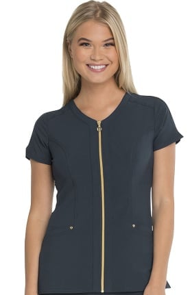 Love Always by heartsoul Women's Zip Front V-Neck Solid Scrub Top