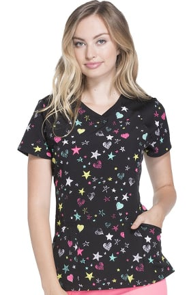 heartsoul Women's V-Neck Star Print Scrub Top
