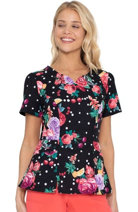 Clearance Love Always by heartsoul Women's Shaped V-Neck Floral Ever Fruity Print Scrub Top