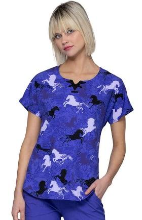 Clearance heartsoul Women's Round Neck Always Be A Unicorn Print Scrub Top