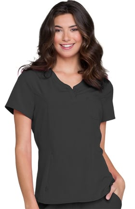 Break On Through by heartsoul Women's Split Neck Solid Scrub Top