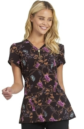 Love Always by heartsoul Women's Chains & Charms Print Scrub Top