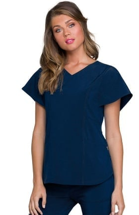 Love Always by heartsoul Women's Magical V-Neck Flutter Sleeve Solid Scrub Top