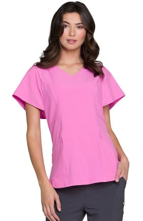 Clearance Love Always by heartsoul Women's Magical V-Neck Flutter Sleeve Solid Scrub Top