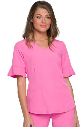 Break On Through by heartsoul Women's V-Neck Flounce Elbow Sleeve Solid Scrub Top