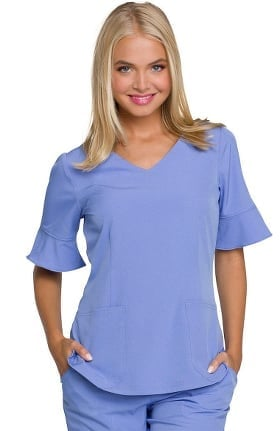 Clearance Break On Through by heartsoul Women's V-Neck Flounce Elbow Sleeve Solid Scrub Top