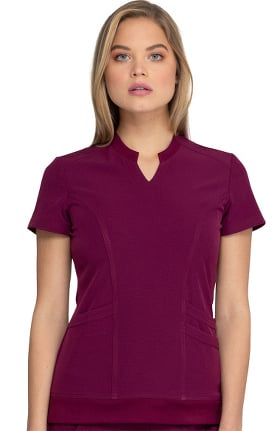 Break On Through by heartsoul Women's Notched Solid Scrub Top