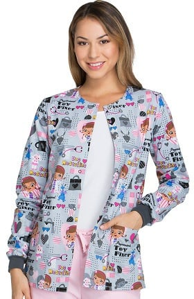 Tooniforms by Cherokee Women's Snap Front Toy Fixer Print Warm-Up Scrub Jacket