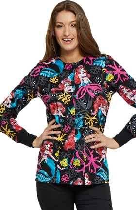 Tooniforms by Cherokee Women's Snap Front Little Mermaid Print Scrub Jacket
