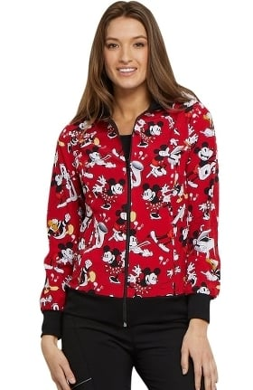 Tooniforms by Cherokee Women's Zip Front Mickey Mouse Print Scrub Jacket