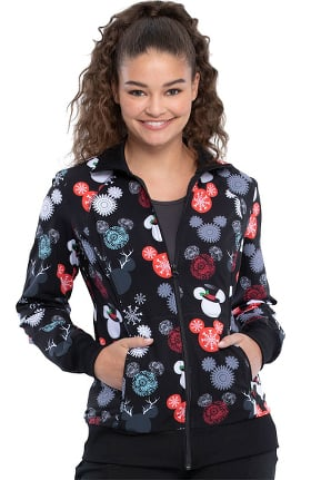 Tooniforms by Cherokee Women's That's Snow Mickey Print Scrub Jacket