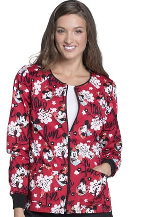 Tooniforms by Cherokee Women's Zip Front Warm-Up Mickey Mouse Print Scrub Jacket