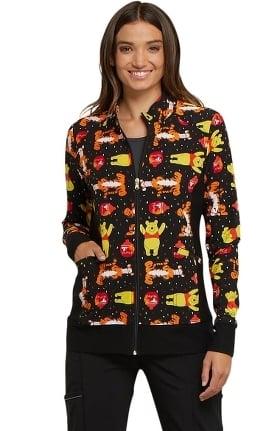 Tooniforms by Cherokee Women's Zip Front Winnie the Pooh Print Scrub Jacket
