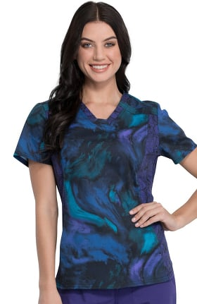 Tooniforms by Cherokee Women's V-Neck Far Far Away Print Scrub Top