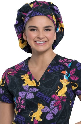 Tooniforms by Cherokee Women's Bouffant Simba Remembers Print Scrub Hat