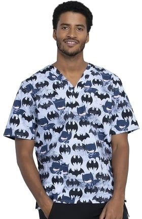 Tooniforms by Cherokee Unisex Knight Out Print Scrub Top